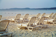 Daybeds on the Beach Royalty Free Stock Photo