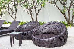 Daybeds at the outdoor garden Stock Photo