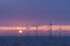 Daybrake a pouca distância do mar de Lillgrund do windfarm, Suécia Imagens de Stock Royalty Free
