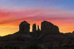 Daybreak at Cathedral Rock - Sedona, Arizona Stock Images