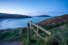 Daybreak at Challaborough Bay. Dawn breaks over the bay in south Devon Royalty Free Stock Image