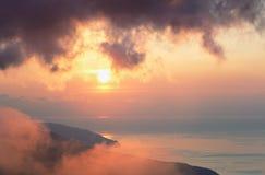 Daybreak coastline fantastic colors landscape Stock Photos