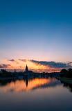 Daybreak. Frankfurt (Hesse, Germany) and Main River at dawn Royalty Free Stock Image