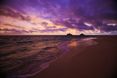 Daybreak at Lanikai beach in Hawaii Stock Images