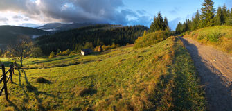 Daybreak in mountain. Daybreak in autumn Carpathian mountain, Ukraine. Five shots stitch image Royalty Free Stock Images