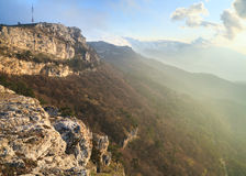 Daybreak mountain landscape Stock Photos