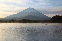 Daybreak Mt. Fuji and Lake Shoji Royalty Free Stock Photo