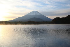 Daybreak Mt. Fuji and Lake Shoji Stock Photo