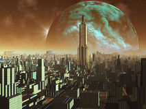 Daybreak over Alien Metropolis. Early morning over downtown Metropolis.  A gigantic rocky moon dominates the golden sky above the immaculate streets and Stock Photos