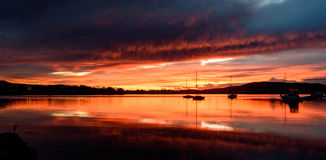 Daybreak over the Bay with Reflections. Tascott & Koolewong, Central Coast, NSW, Australia Stock Images