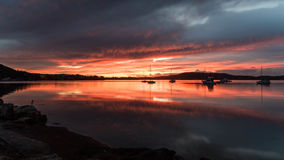 Daybreak over the Bay with Reflections. Tascott & Koolewong, Central Coast, NSW, Australia Royalty Free Stock Photography