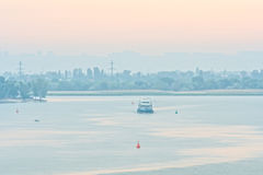 Daybreak over the river and city skyline Stock Photo