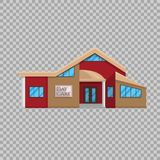 Daycare building in flat style on transparent background Vector illustration. Kindergarten Pre-school education. A place where many children symbol for your stock illustration