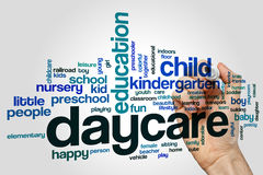 Daycare word cloud concept on grey background Stock Image