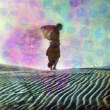 Daydream Away. Abstract female figure in desert dune. Photo based illustration Royalty Free Stock Image