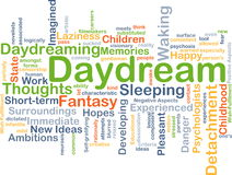 Daydream background concept. Background concept wordcloud illustration of daydream Royalty Free Stock Photos