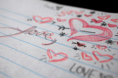 Daydream. Love doodles on the corner a school notebook Stock Image