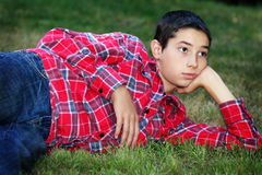 Daydreamer Tween Boy Stock Photo
