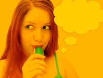 Daydreaming. Woman in high key tones sucking on green freezie treat. Thought bubble next to woman, empty to allow for text vector illustration