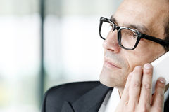Daydreaming Adult businessman talking on phone Stock Images