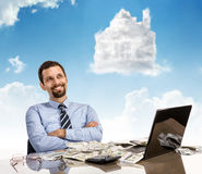 Daydreaming businessperson with arms crossed Royalty Free Stock Photos