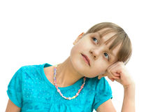 Daydreaming girl. Portrait of daydreaming girl isolated over white Royalty Free Stock Images