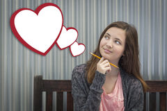 Daydreaming Girl With Blank Floating Hearts - Clipping Path Stock Image