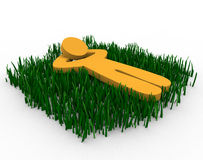 Daydreaming in the Grass. Figure lying in a grassy field daydreaming Stock Image