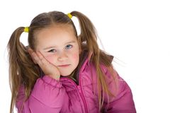 Daydreaming kid. Isolated on white Royalty Free Stock Photos