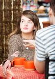 Daydreaming Lady in Cafe Stock Image