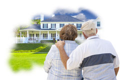 Daydreaming Senior Couple Over Custom Home Photo Thought Bubble Royalty Free Stock Images