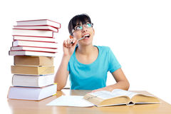 Daydreaming during studying Stock Photos