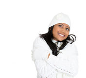 Daydreaming winter woman Stock Image