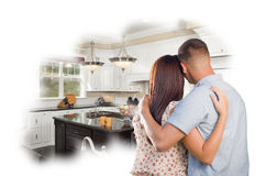 Daydreaming Young Military Couple Over Custom Kitchen Photo Thou Stock Photo