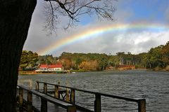 Daylesford Boat House. With a rainbow in the sky. Located in Victoria Australia Stock Images