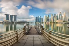 Daylight and bridge in Singapore City with panorama view, Royalty Free Stock Photo