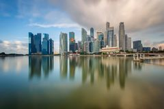 Daylight and bridge in Singapore City with panorama view. Singapore Royalty Free Stock Photos