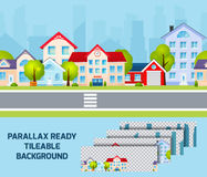Daylight cityscape parallax effect background. Daylight residential area street view cityscape with parallax effect city centre on background tileable abstract stock illustration
