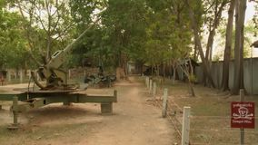 37mm anti-aircraft gun at the Cambodia War Museum. A daylight closeup shot of a Soviet 37mm anti-aircraft gun on display at the outdoor exhibit of the Cambodia stock video footage
