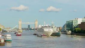 Daylight Establishing Shot London Iconic Landmark Tower Bridge. river transport. London, United Kingdom - JULY 31, 2017: Daylight Establishing Shot London Iconic stock video