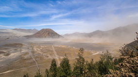 Daylight Sand Storm time lapse at Mount Batok, Bromo Tengger Semeru National Park, East Java, Indonesia. stock video