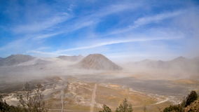 Daylight Sand Storm time lapse at Mount Batok, Bromo Tengger Semeru National Park, East Java, Indonesia. stock video