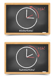 Daylight saving. Detailed illustration of blackboards with daylight saving clocks stock illustration