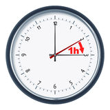 Daylight saving time. An image of a nice clock daylight saving time 1h stock illustration