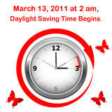 Daylight saving time begins. Daylight saving time begins march 13. Icon clock vector illustration