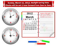 Daylight saving time begins. Stock Image