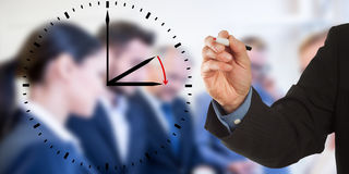 Daylight Saving Time, Business man hand writing with team Royalty Free Stock Photography