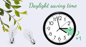 Daylight Saving Time. Change clock to summer time. Daylight Saving Time. DST. Wall Clock going to winter time. Turn time forward. Abstract photo of changing stock photo