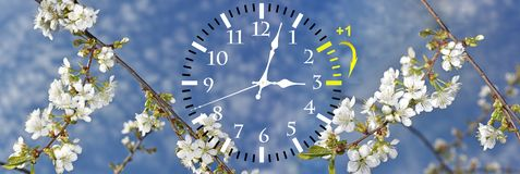 Daylight Saving Time. Change clock to summer time. Daylight Saving Time. DST. Wall Clock going to winter time. Turn time forward. Abstract photo of changing royalty free stock image