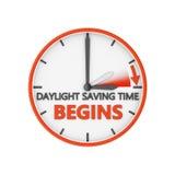 Daylight saving time. Time change to daylight saving time on white background stock illustration